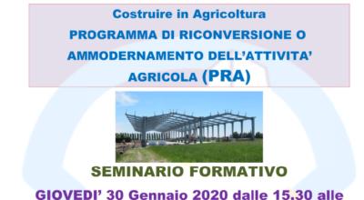 COSTRUIRE IN AGRICOLTURA – PROGRAMMA DI RICONVERSIONE O AMMODERNAMENTO DELL'ATTIVITA' AGRICOLA (PRA)